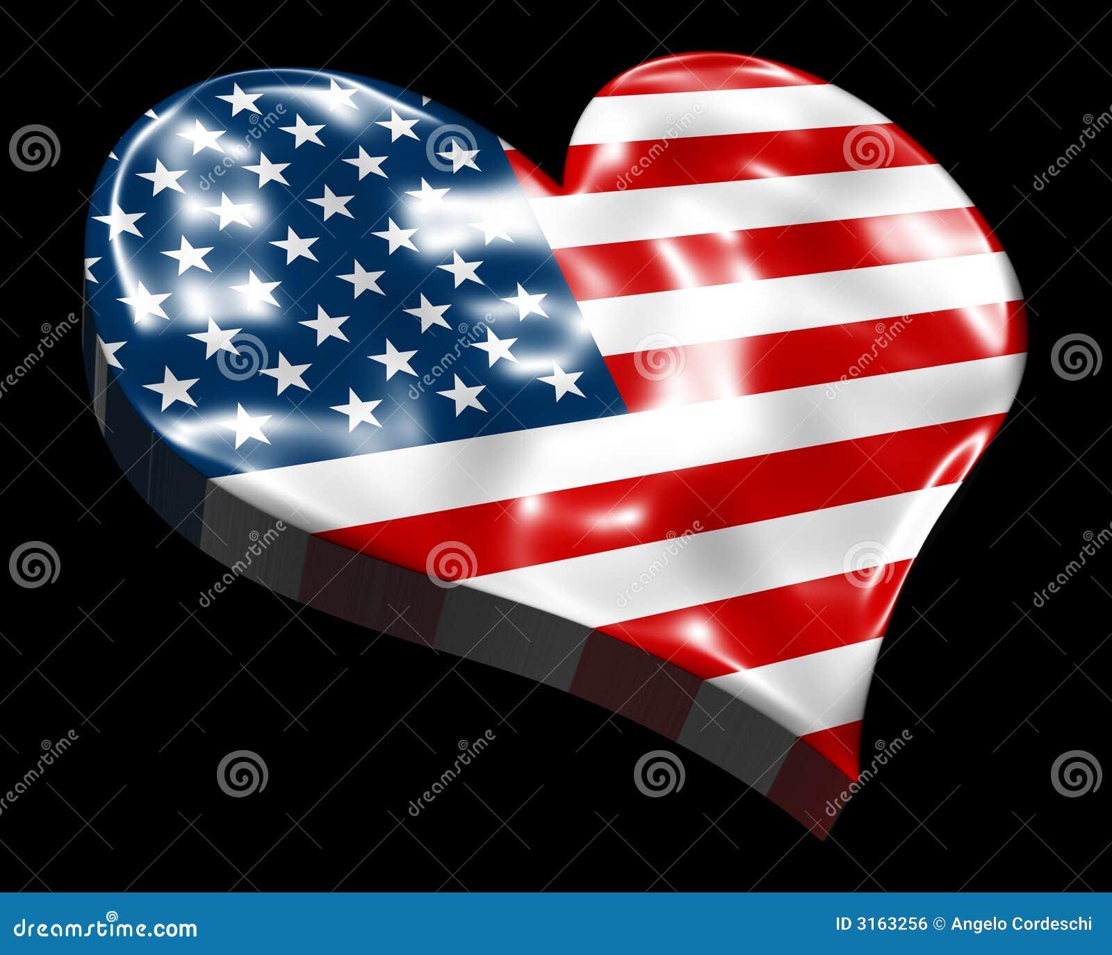 Αμερικανική σημαία καρδιών τρισδιάστατη