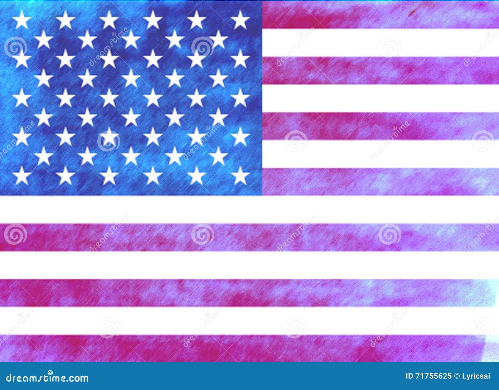 Αμερικανική σημαία Watercolor