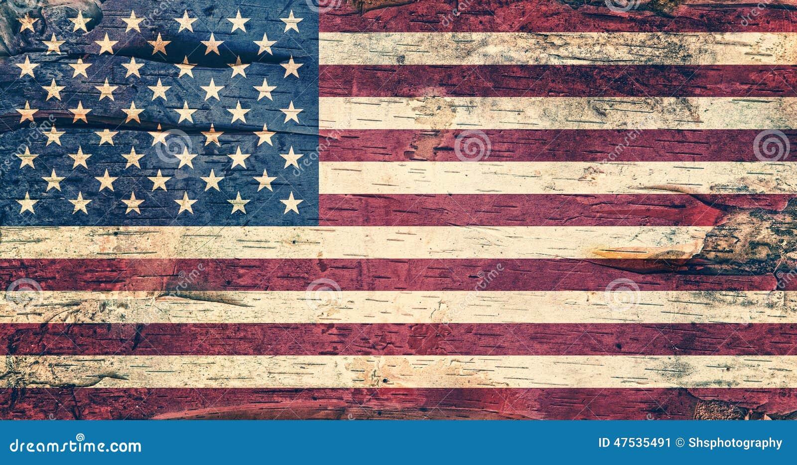 ΑΜΕΡΙΚΑΝΙΚΗ σημαία στο φλοιό σημύδων