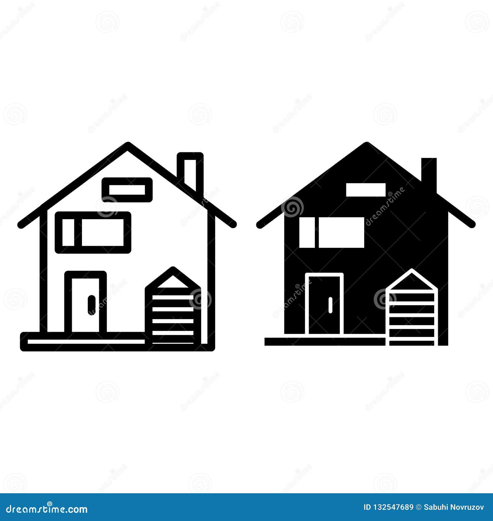 Αμερικανικοί οικογενειακό ιδιωτικός πυροσβεστικός σωλήνας και glyph εικονίδιο Σπιτιών προσόψεων απεικόνιση που απομονώνεται διανυ