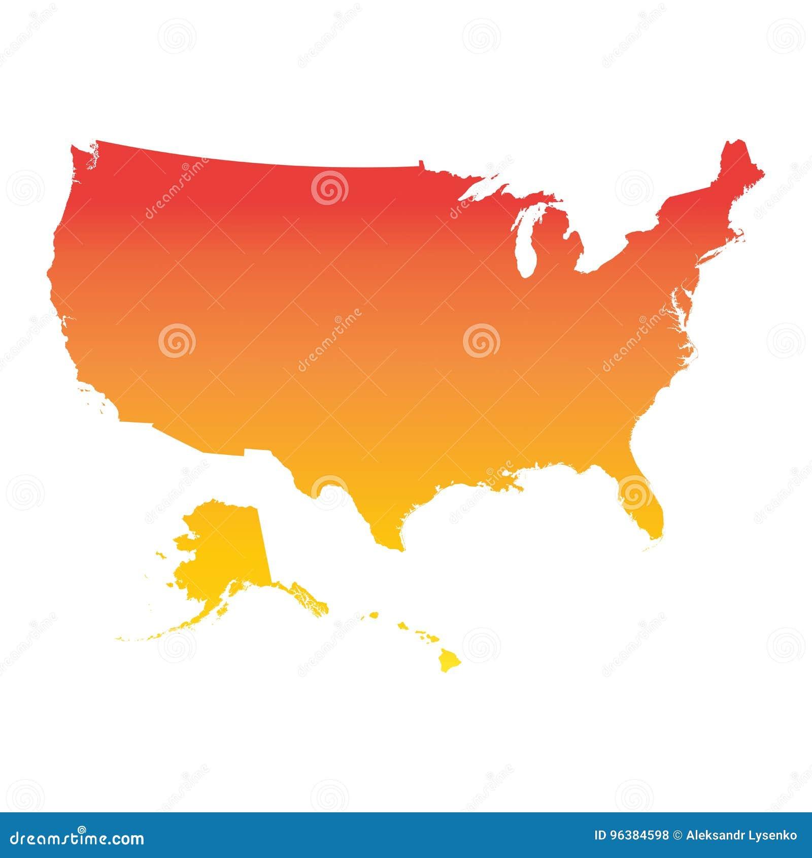 Αμερικανικός, Ηνωμένες Πολιτείες της Αμερικής χάρτης Ζωηρόχρωμο πορτοκαλί διάνυσμα illust