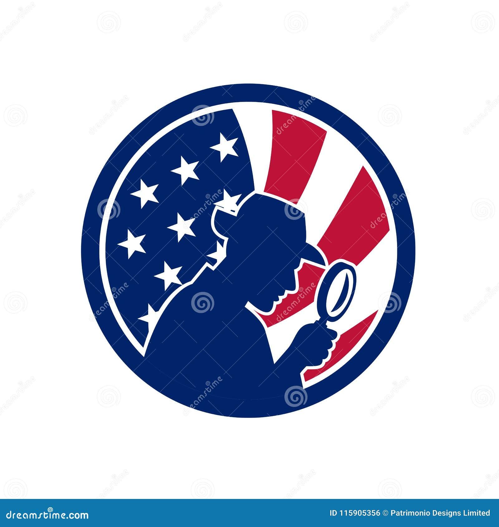 Αμερικανικό ιδιωτικό εικονίδιο ΑΜΕΡΙΚΑΝΙΚΩΝ σημαιών ανακριτών
