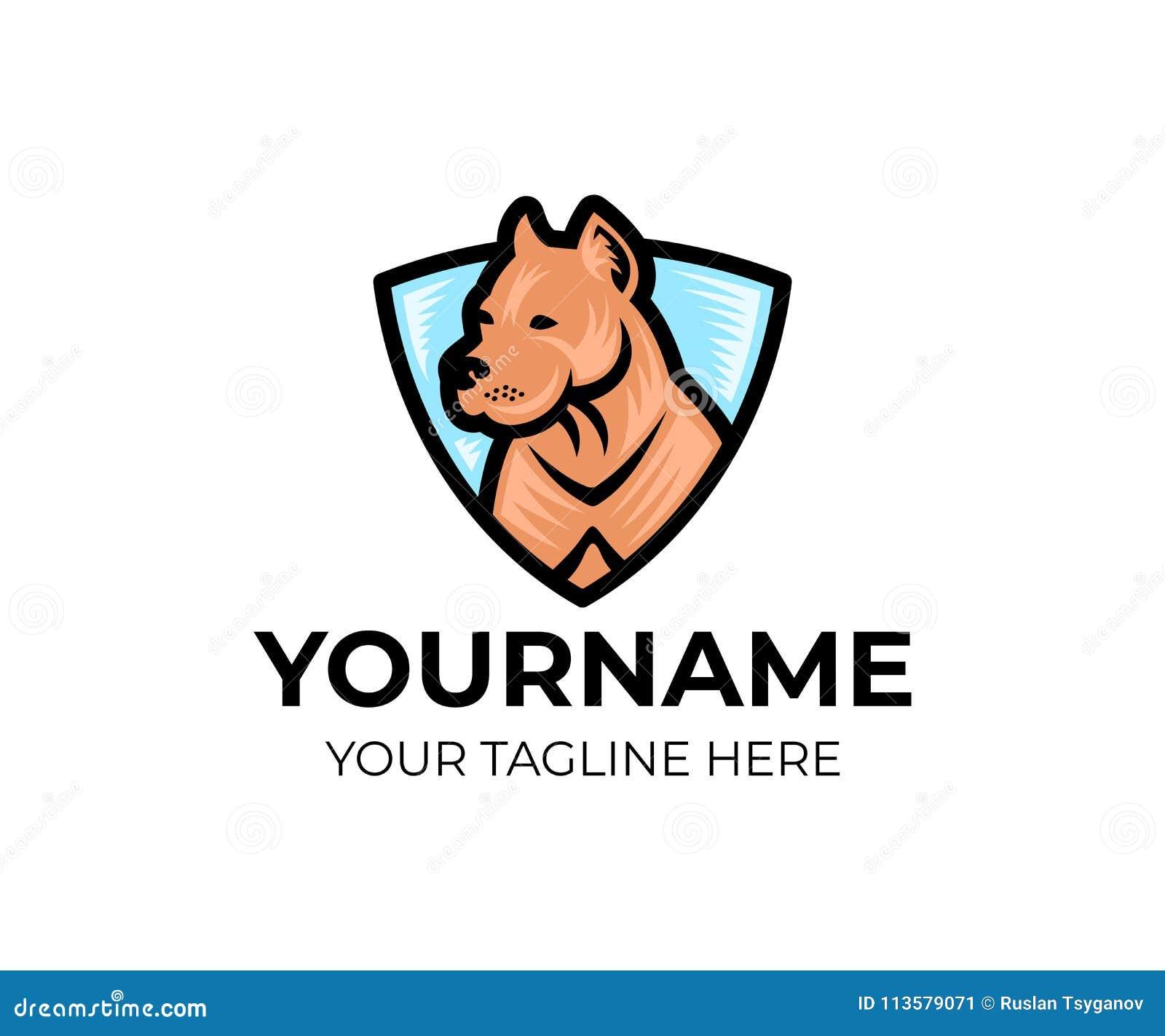 Αμερικανικό σκυλί τεριέ πίτμπουλ στην ασπίδα, πρότυπο λογότυπων Pet και κτηνιατρικός, λέσχη των εραστών σκυλιών, διανυσματικό σχέ
