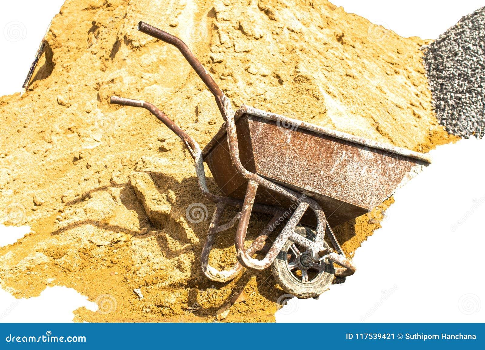 Αμμοχάλικο, άμμος, κάρρο, πέτρα και φτυάρι στη δημιουργική σύσταση