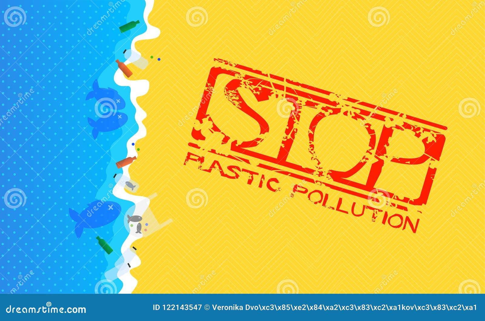 Αμμώδης παραλία με τα πλημμυρισμένα πλαστικά απόβλητα Γραμματόσημο Grunge με το κείμενο: Πλαστική ρύπανση στάσεων
