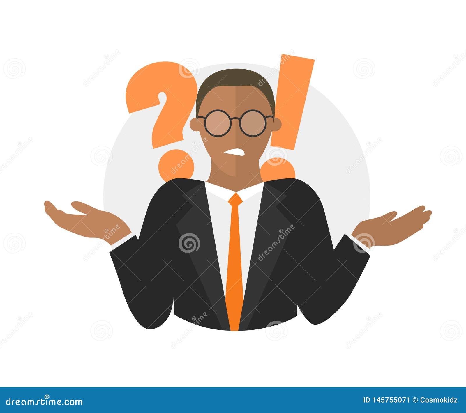 Αμφιβολίες επιχειρηματιών Μαύρος με ένα ερωτηματικό απεικόνιση που απομονώνεται στο λευκό