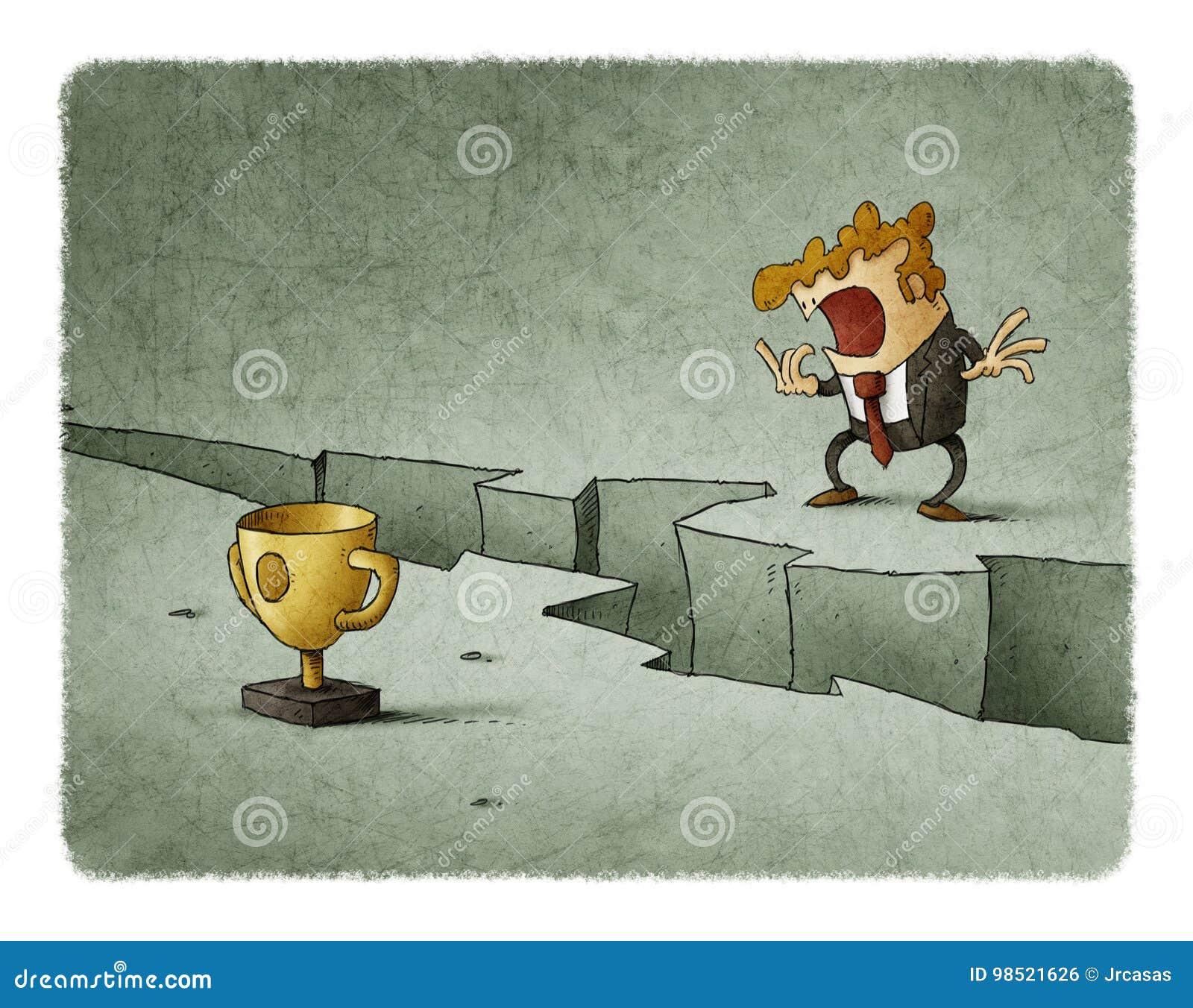 Αμφισβήτηση επιχειρηματιών που πηδά μια ρωγμή για να επιτύχει το στόχο του