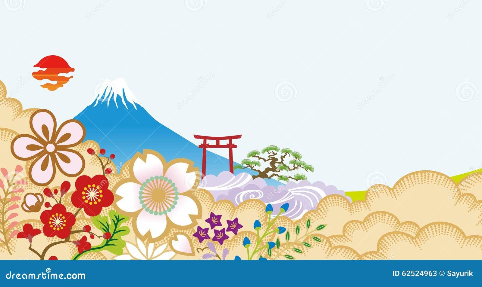 ΑΜ Φούτζι και ιαπωνικά λουλούδια
