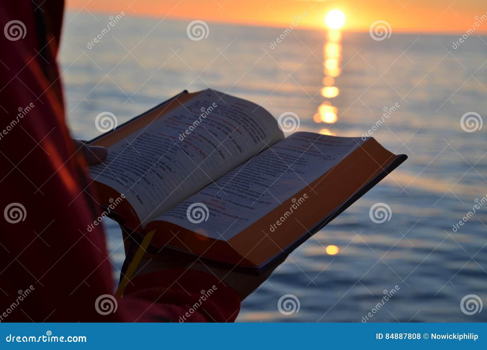 Ανάγνωση κατά τη διάρκεια του ηλιοβασιλέματος στη θάλασσα της Βαλτικής