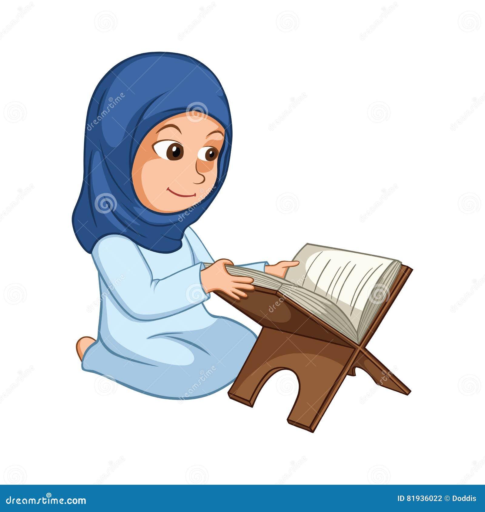 Ανάγνωση Quran κοριτσιών το ιερό βιβλίο του Ισλάμ