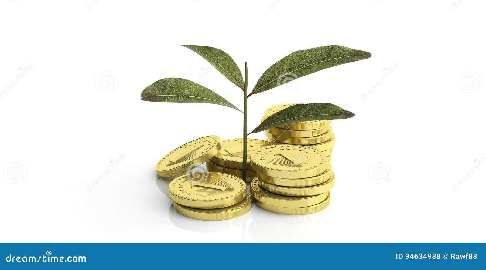 Ανάπτυξη εγκαταστάσεων στα νομίσματα - άσπρο υπόβαθρο τρισδιάστατη απεικόνιση