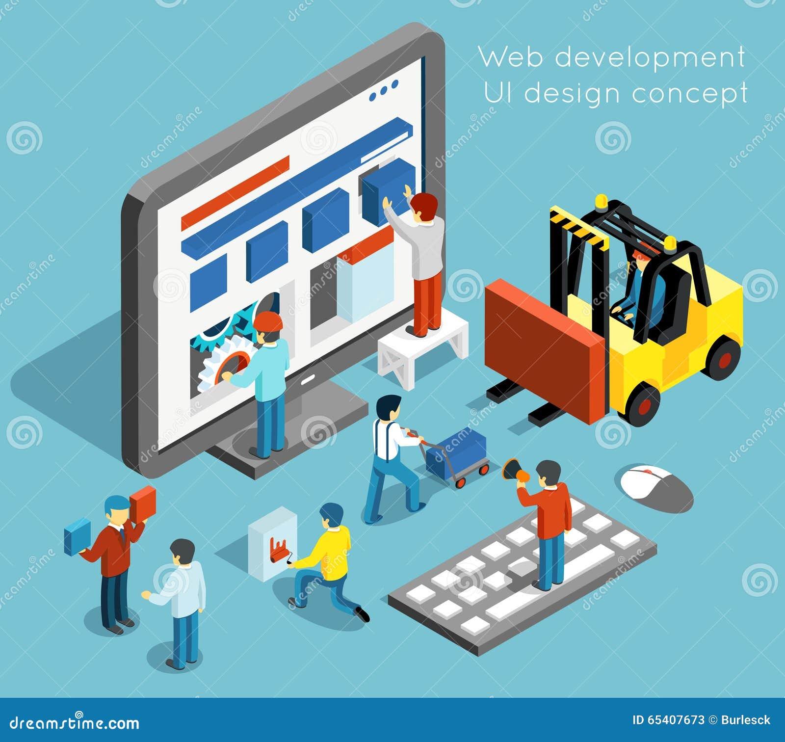Ανάπτυξη Ιστού και διανυσματική έννοια σχεδίου UI μέσα