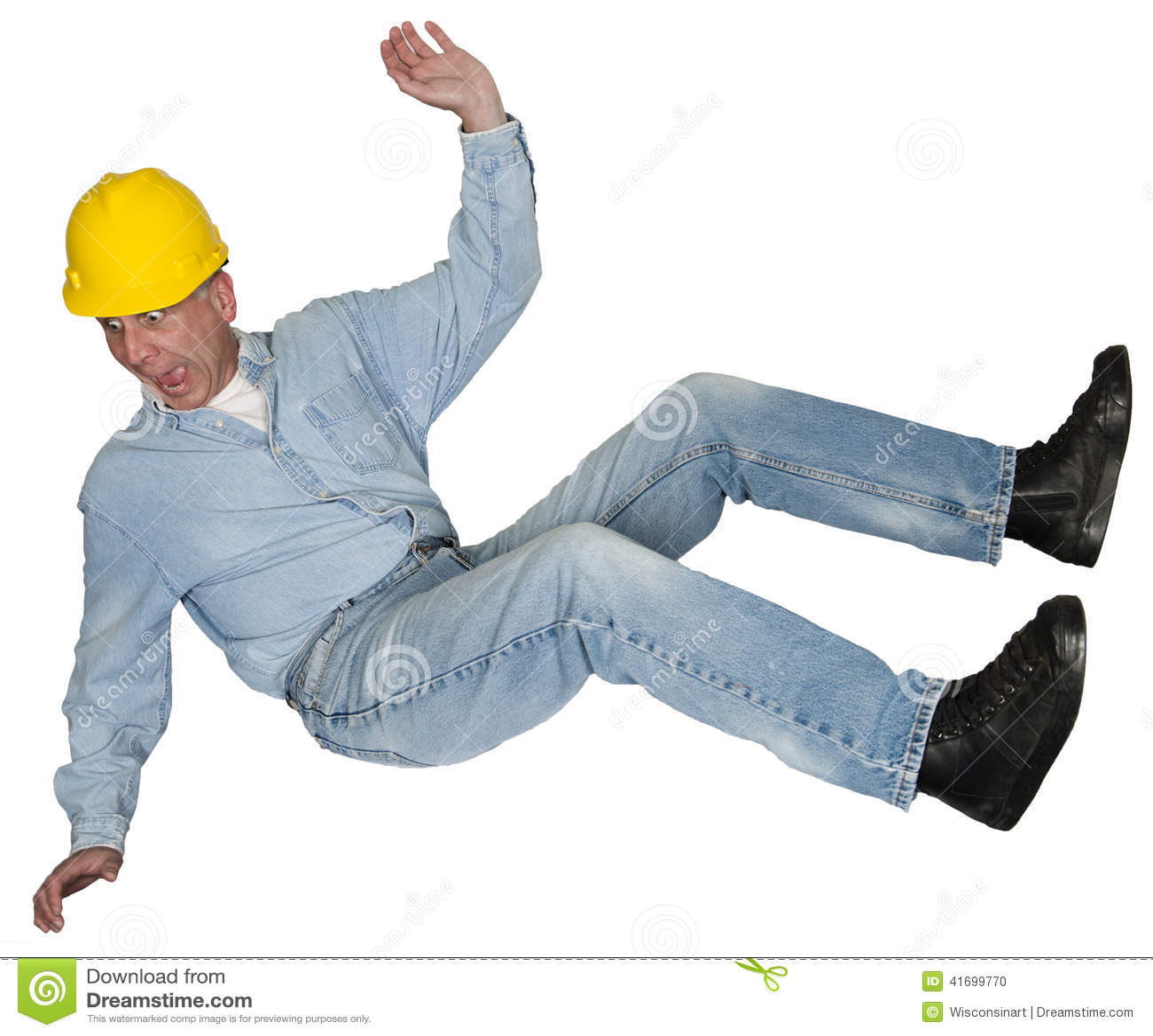 Ανάδοχος εργατών οικοδομών που πέφτει, ατύχημα, που απομονώνεται