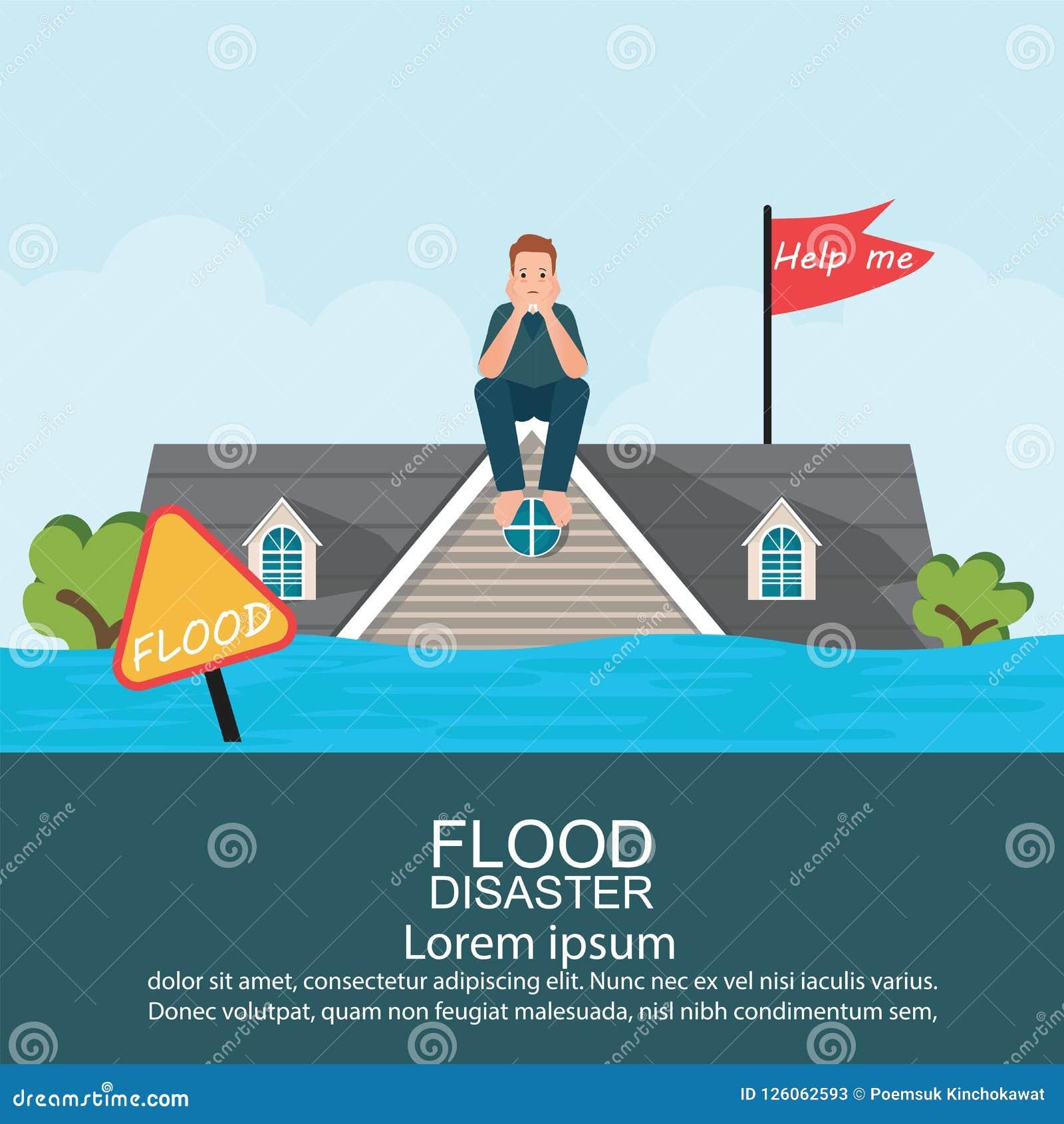 Ανήσυχη συνεδρίαση ατόμων στη στέγη του σπιτιού μετά από την πλημμύρα νερού