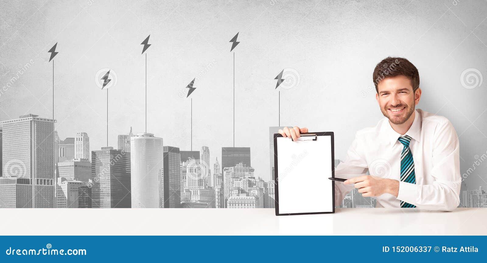 Αναγγέλλων που παρουσιάζει την κατανάλωση ενέργειας πόλεων