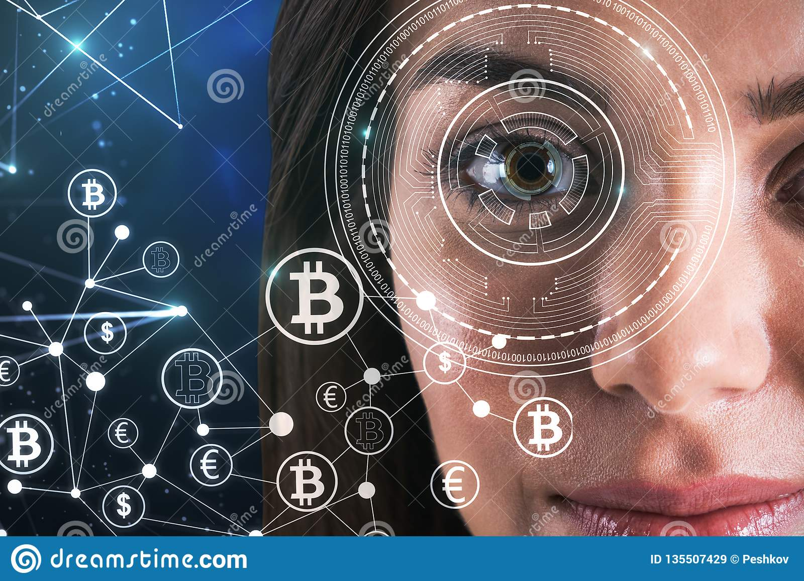 Αναγνώριση και bitcoin έννοια προσώπου