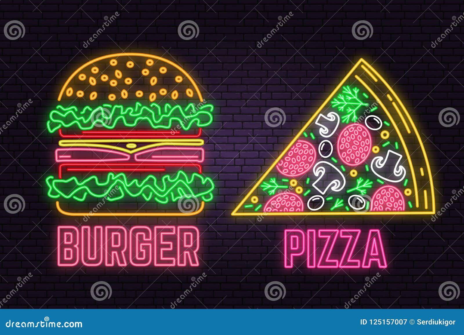 Αναδρομικά burger νέου και σημάδι πιτσών στο υπόβαθρο τουβλότοιχος Σχέδιο για τον καφέ γρήγορου φαγητού