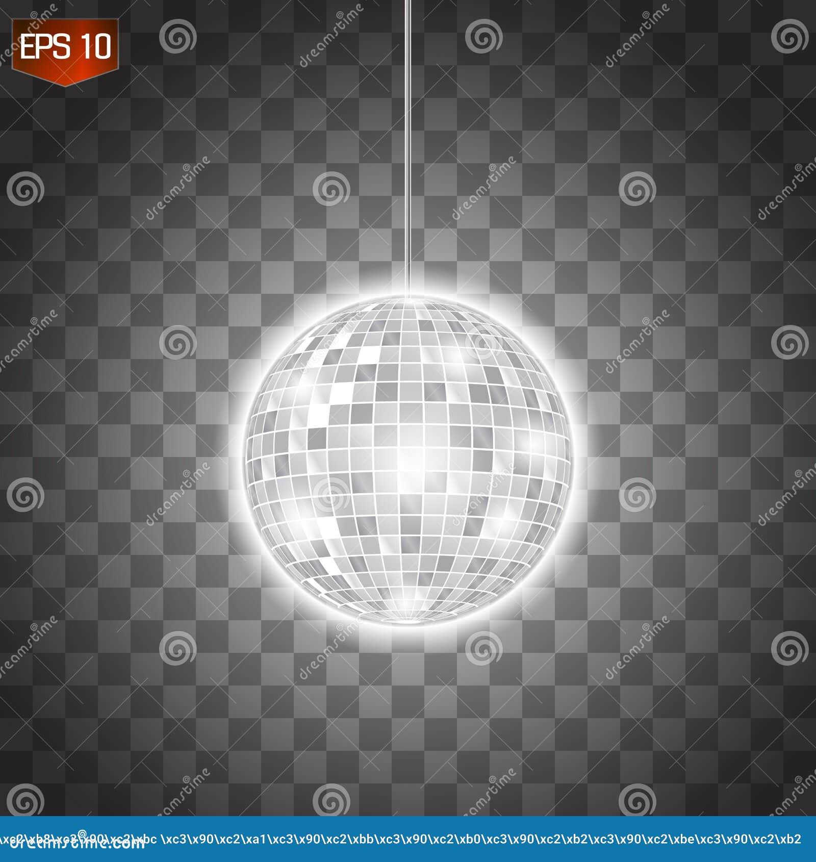 Αναδρομικό ασημένιο disco σύμβολο λεσχών σφαιρών διανυσματικό, λάμποντας της κατοχής της διασκέδασης, χορός, DJ που αναμιγνύει, ν