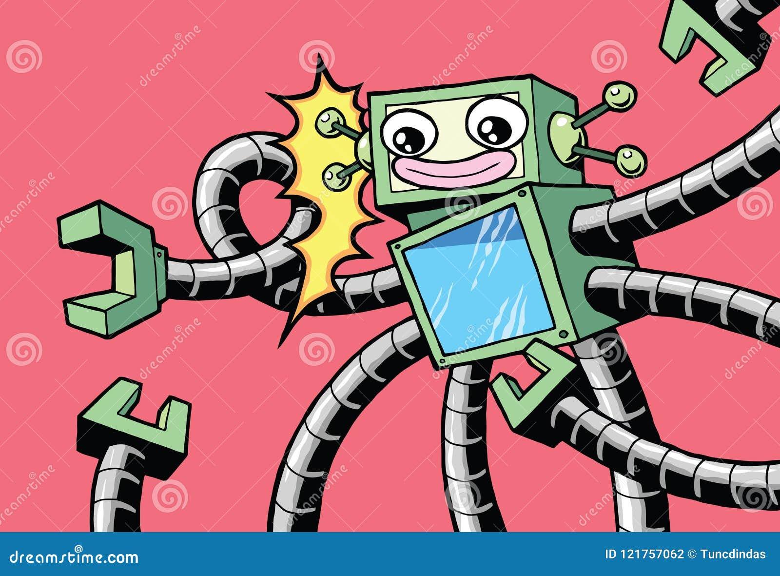 Αναδρομικό εκλεκτής ποιότητας ευτυχές ρομπότ ύφους με τα ρομποτικά όπλα