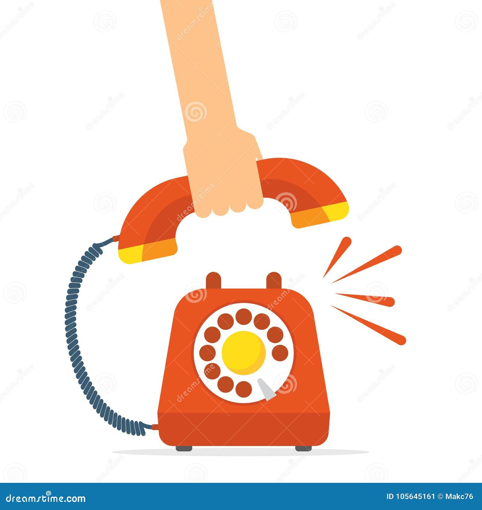 Αναδρομικό κόκκινο τηλεφωνικό χτύπημα ύφους το τηλέφωνο παίρνει