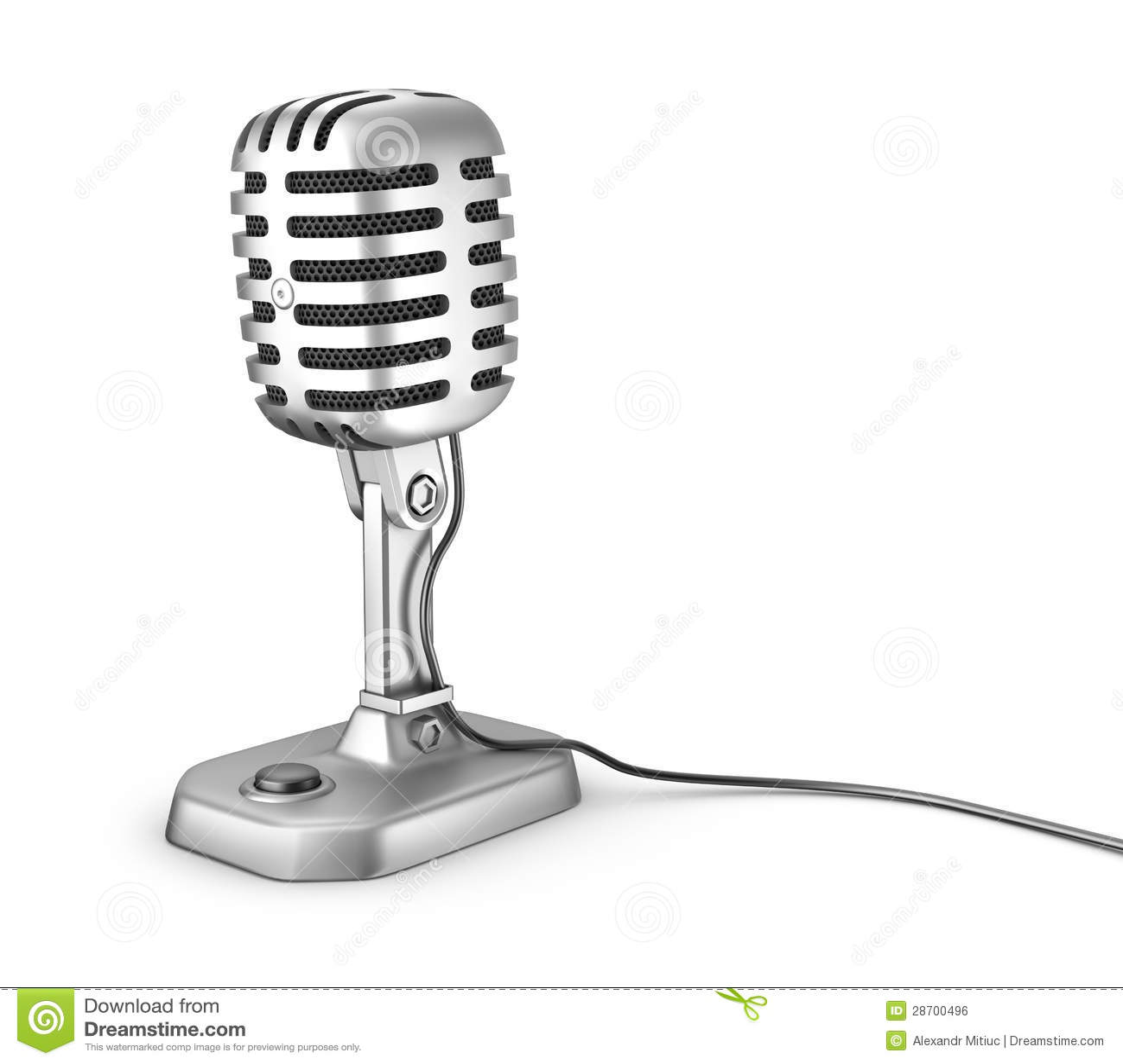 Αναδρομικό μικρόφωνο. Απομονωμένος στο λευκό.