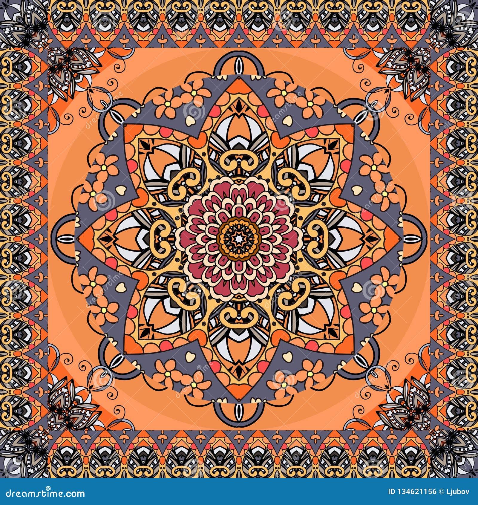 Αναδρομικό σχέδιο με το όμορφο mandala λουλουδιών και διακοσμητικό πλαίσιο τρεκλίσματος στο φωτεινό πορτοκαλί υπόβαθρο Άνευ ραφής