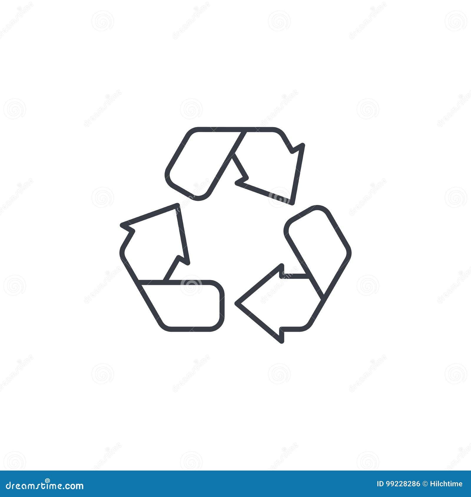 Ανακυκλώστε το πράσινο σύμβολο Λεπτό εικονίδιο γραμμών προστασίας του περιβάλλοντος Γραμμικό διανυσματικό σύμβολο
