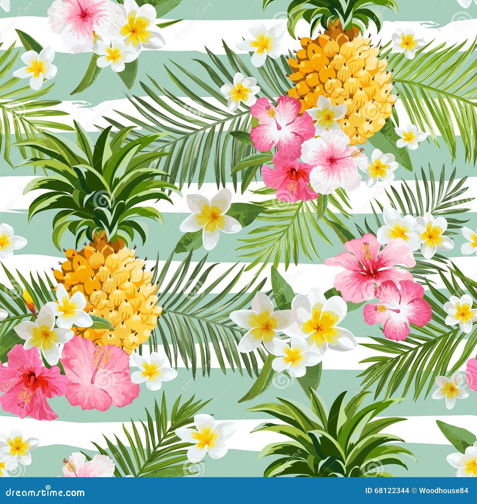 Ανανάδες και τροπικό υπόβαθρο γεωμετρίας λουλουδιών