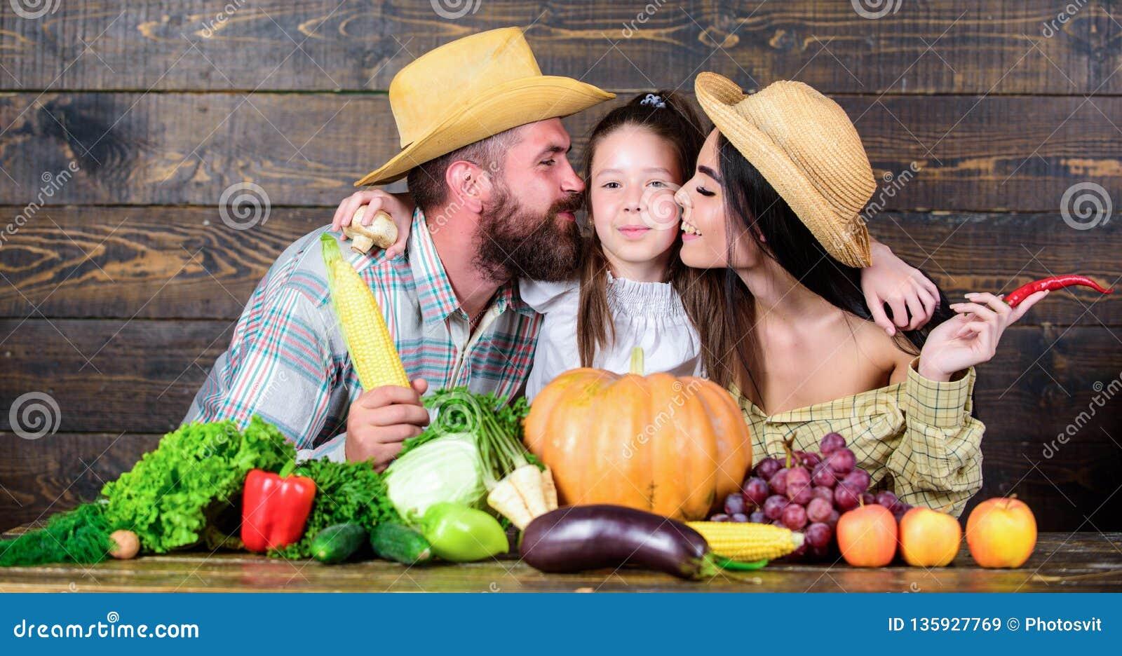 Αναπτυγμένος με την αγάπη Αγρότες οικογενειακού αγροτικοί ύφους στην αγορά με τα φρούτα και την πρασινάδα λαχανικών Συγκομιδή γον