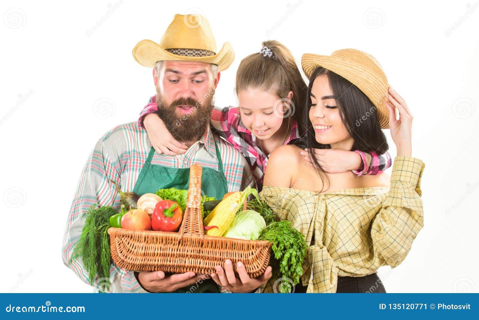 Αναπτυγμένος με την αγάπη Οι γονείς και η κόρη γιορτάζουν το απομονωμένο συγκομιδή λευκό λαχανικών κηπουρών οικογενειακών αγροτών