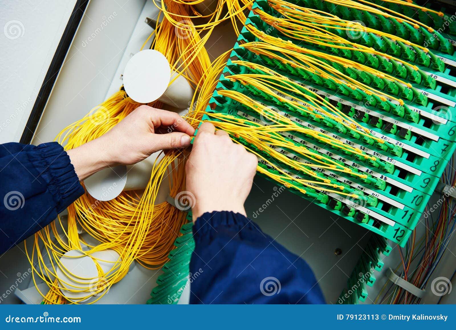ανασκόπησης μπλε καλωδίων βύσμα Διαδικτύου σύνδεσης βαθύ συνδέοντας καλώδια οπτικών ινών μηχανικών