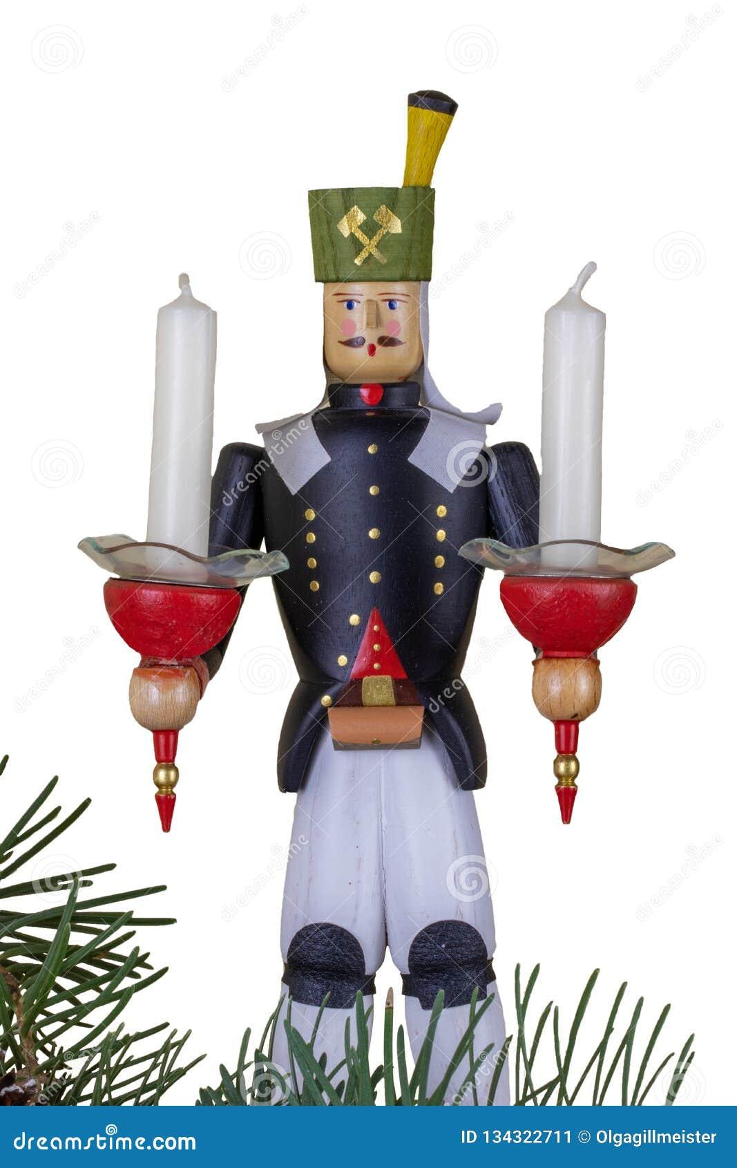 Ανασκόπηση διακοσμήσεων Χριστουγέννων Κινηματογράφηση σε πρώτο πλάνο ενός εκλεκτής ποιότητας ξύλινου παραδοσιακού ειδωλίου Χριστο