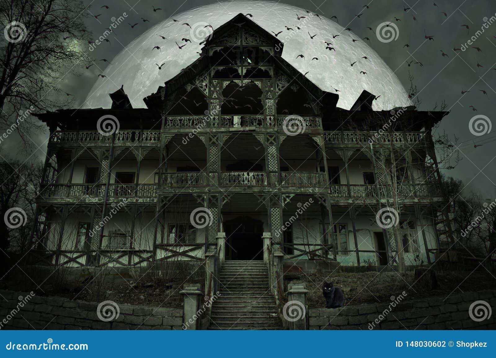 Ανατριχιαστικό συχνασμένο σπίτι με τη σκοτεινή ατμόσφαιρα φρίκης Μια μαύρη γάτα, πολλές ρόπαλα και μεγάλη πανσέληνος πίσω από τη