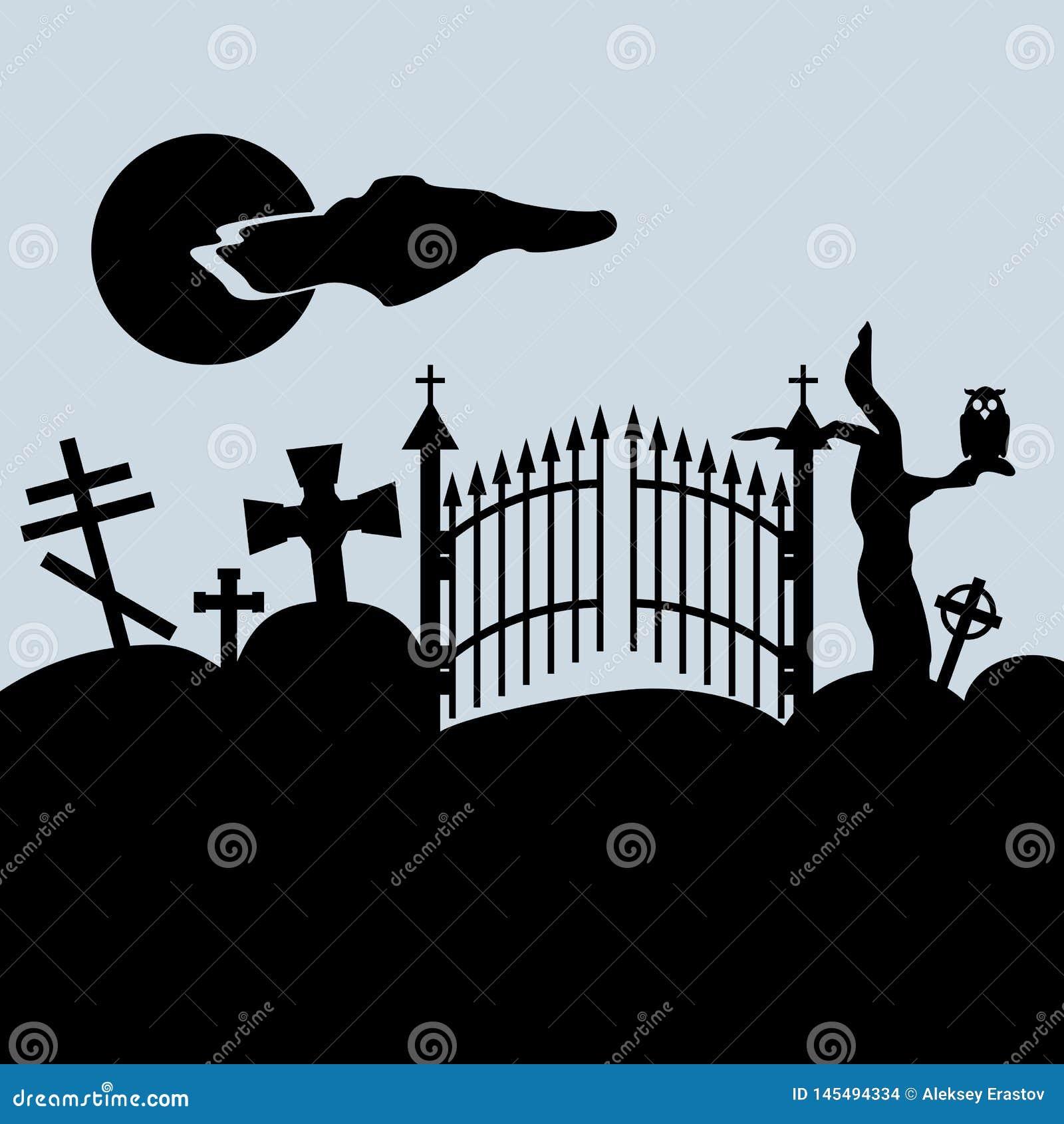 Ανατριχιαστικό τοπίο Πύλες νεκροταφείων, σοβαροί σταυροί, κουκουβάγια στο ξηρό δέντρο, νυχτερινός ουρανός r