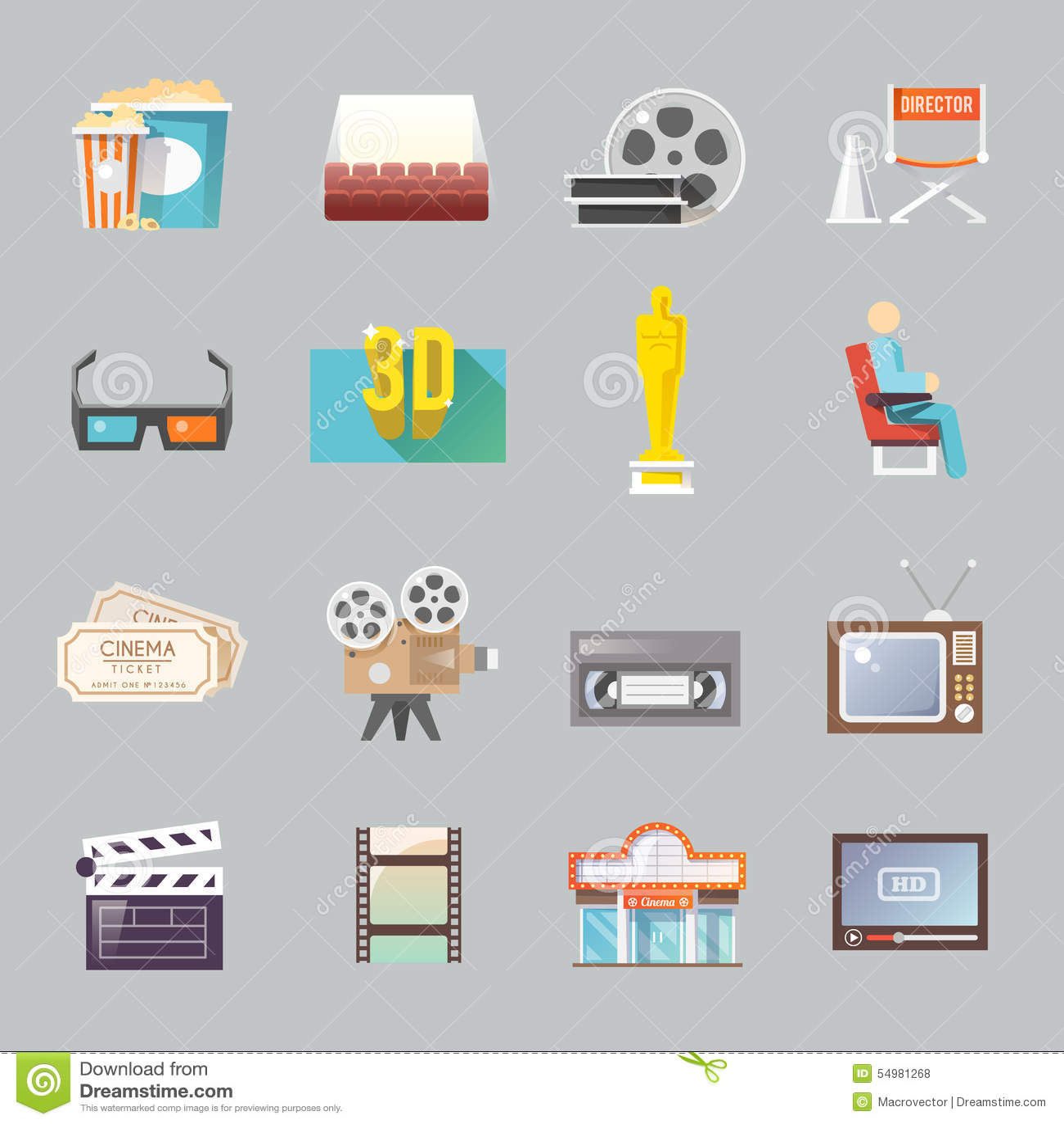 Αναδρομικά επίπεδα εικονίδια κινηματογράφων καθορισμένα