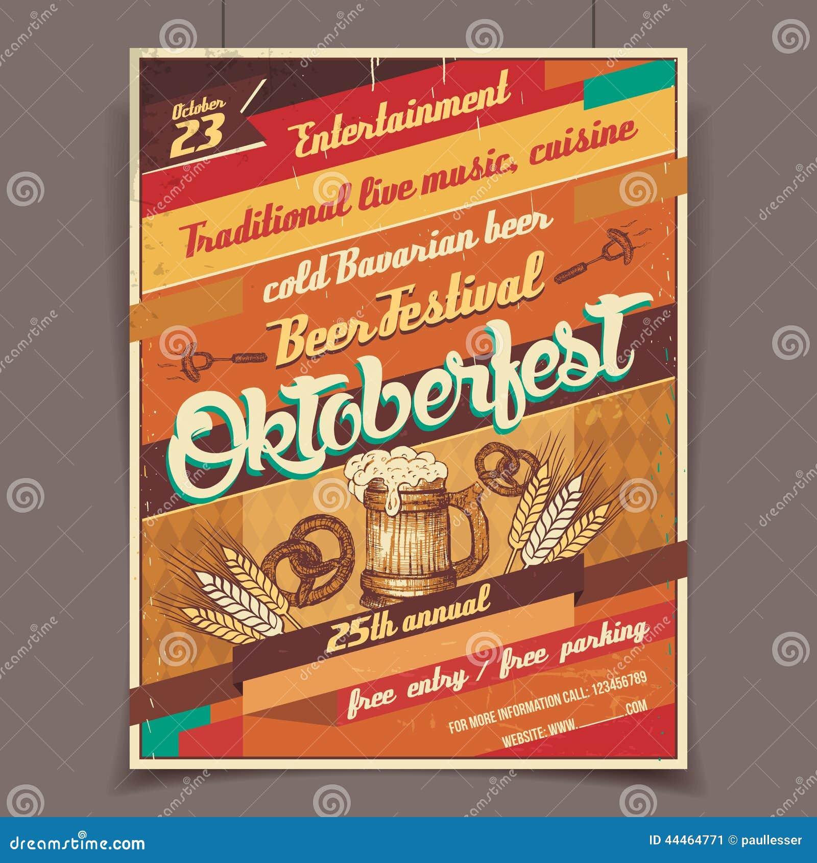 Αναδρομική αφίσα φεστιβάλ μπύρας Oktoberfest
