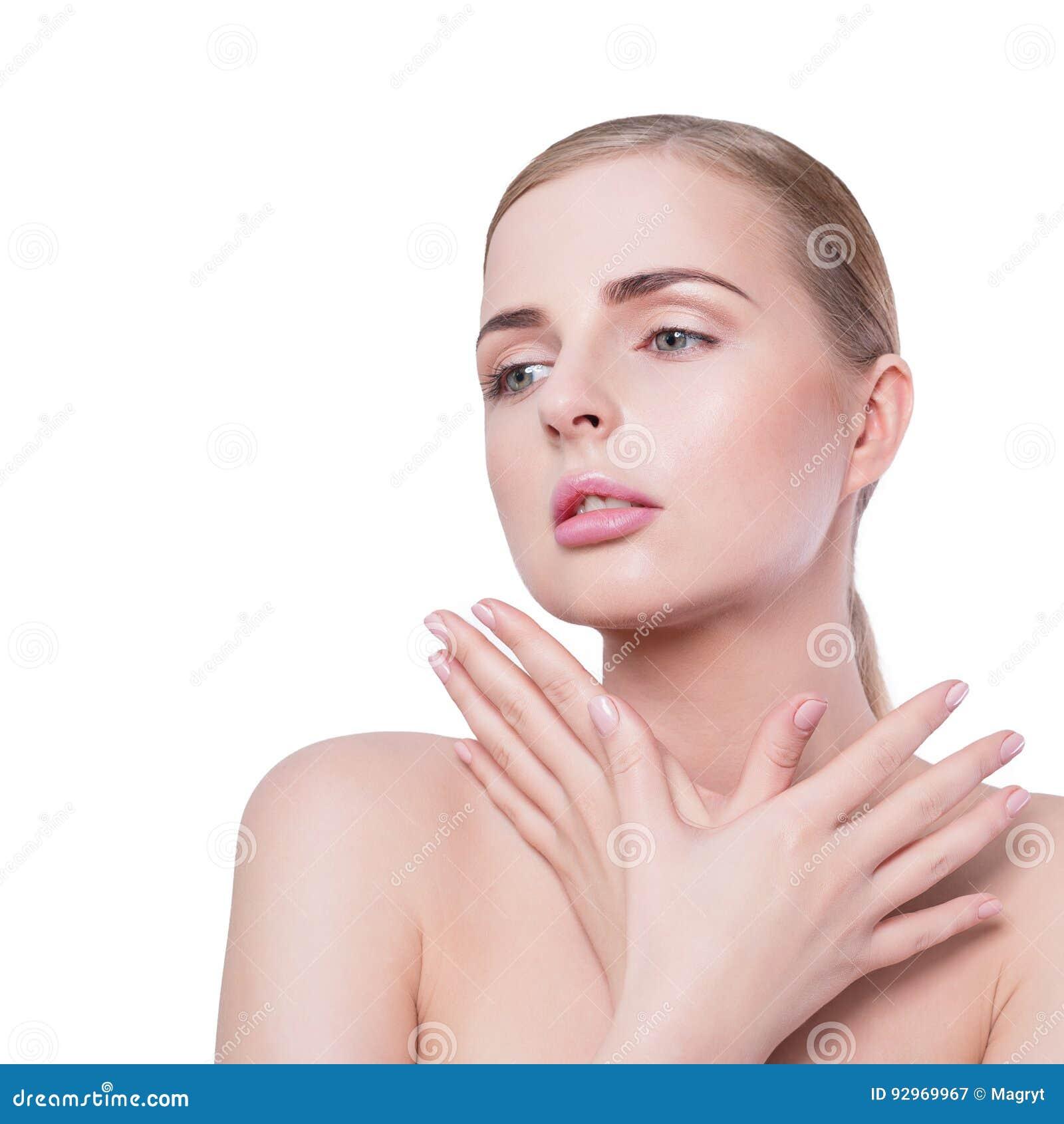 αναδρομική γυναίκα ΧΧ αναθεώρησης s πορτρέτου αιώνα ομορφιάς 20 Beautiful spa πρότυπο κορίτσι με το τέλειο φρέσκο καθαρό δέρμα κα