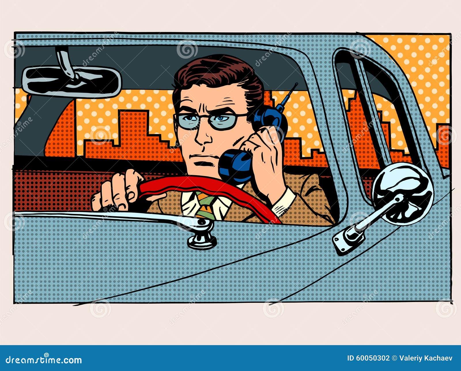 Αναδρομικός οδηγός που μιλά στο τηλέφωνο κυττάρων