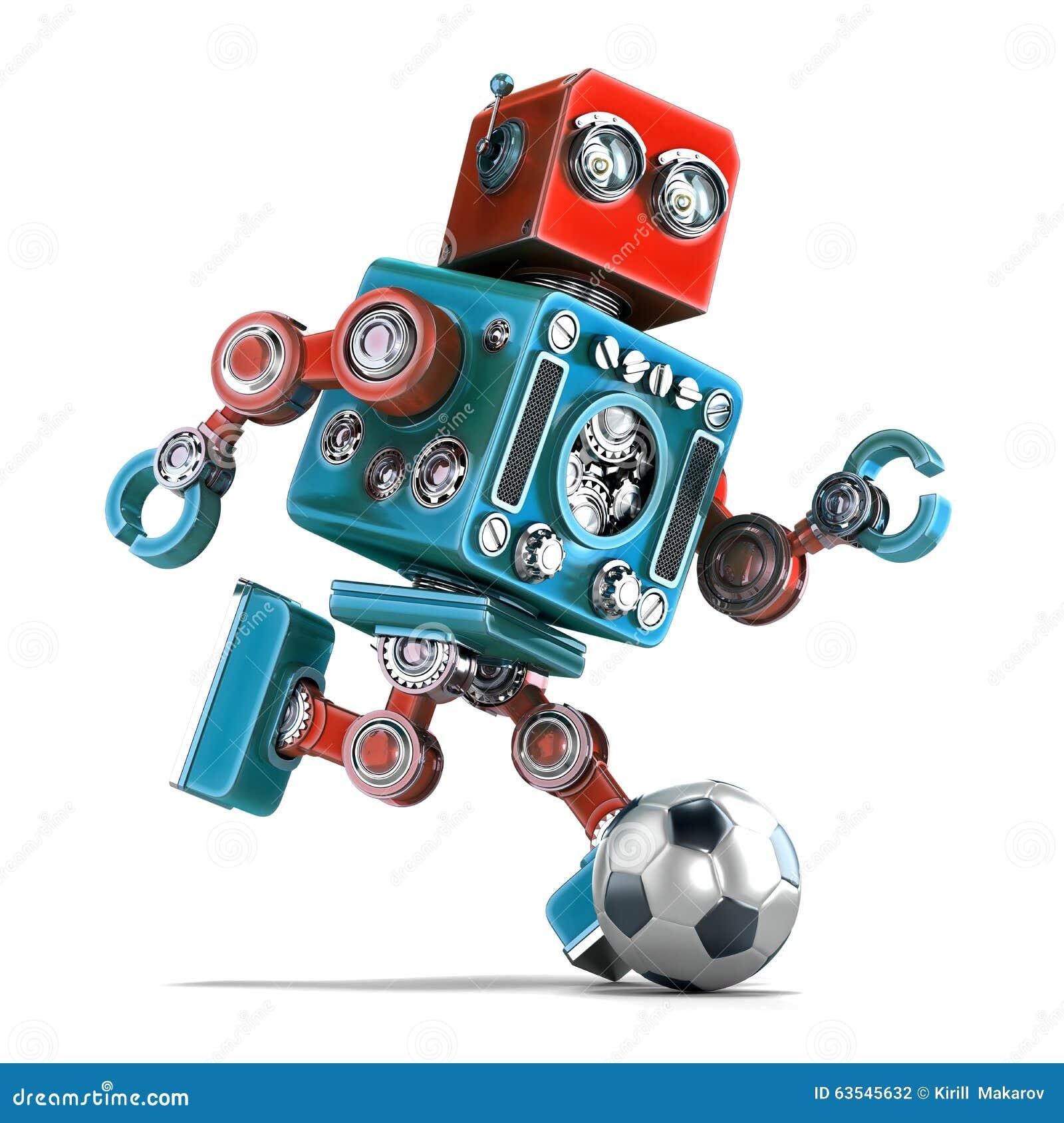 Αναδρομικό παίζοντας ποδόσφαιρο ρομπότ απομονωμένος Περιέχει το μονοπάτι ψαλιδίσματος