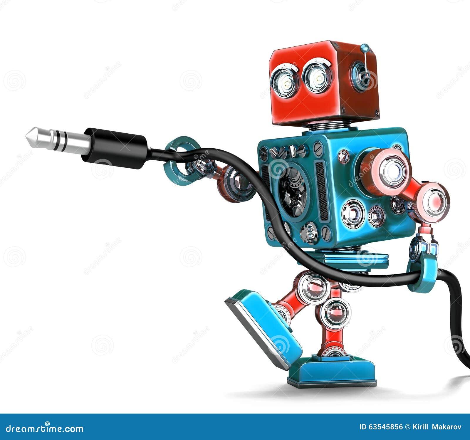 Αναδρομικό ρομπότ με το στερεοφωνικό ακουστικό γρύλο απομονωμένος Περιέχει το μονοπάτι ψαλιδίσματος