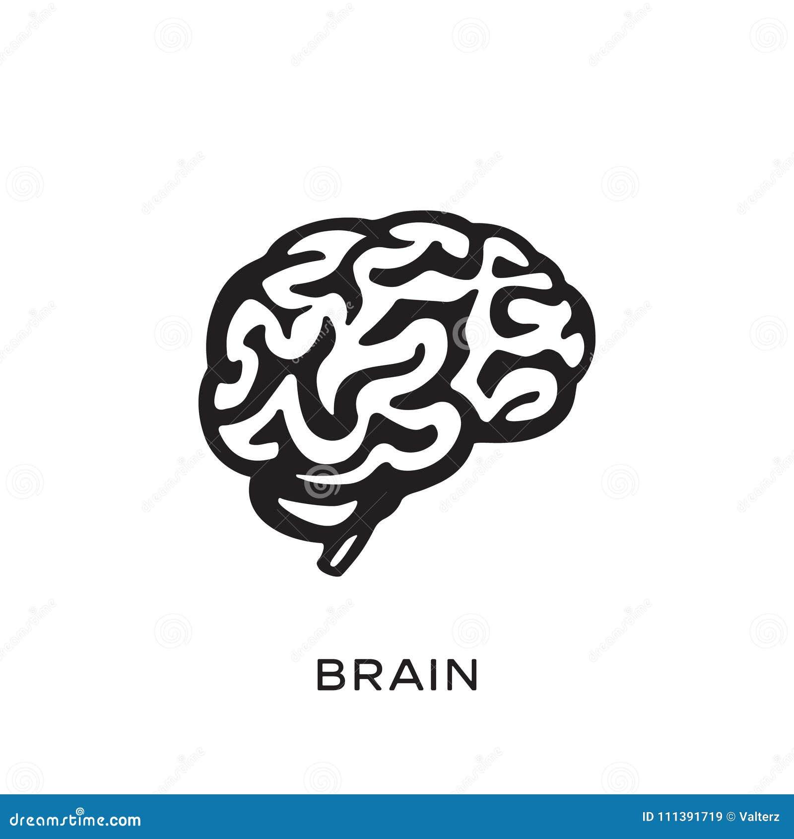 Ανθρώπινη διανυσματική απεικόνιση σχεδίου σκιαγραφιών εγκεφάλου Σκεφτείτε την έννοια ιδέας _