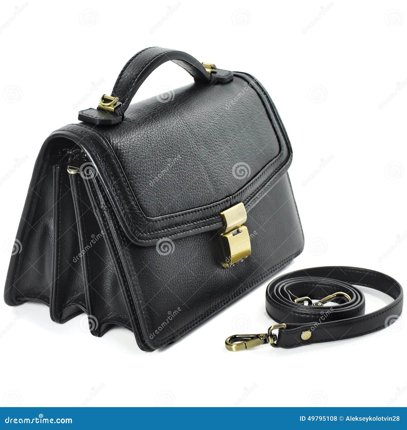 2ba5f6787d Ανθρώπινη μικρή μαύρη τσάντα δέρματος στο άσπρο υπόβαθρο Στοκ ...