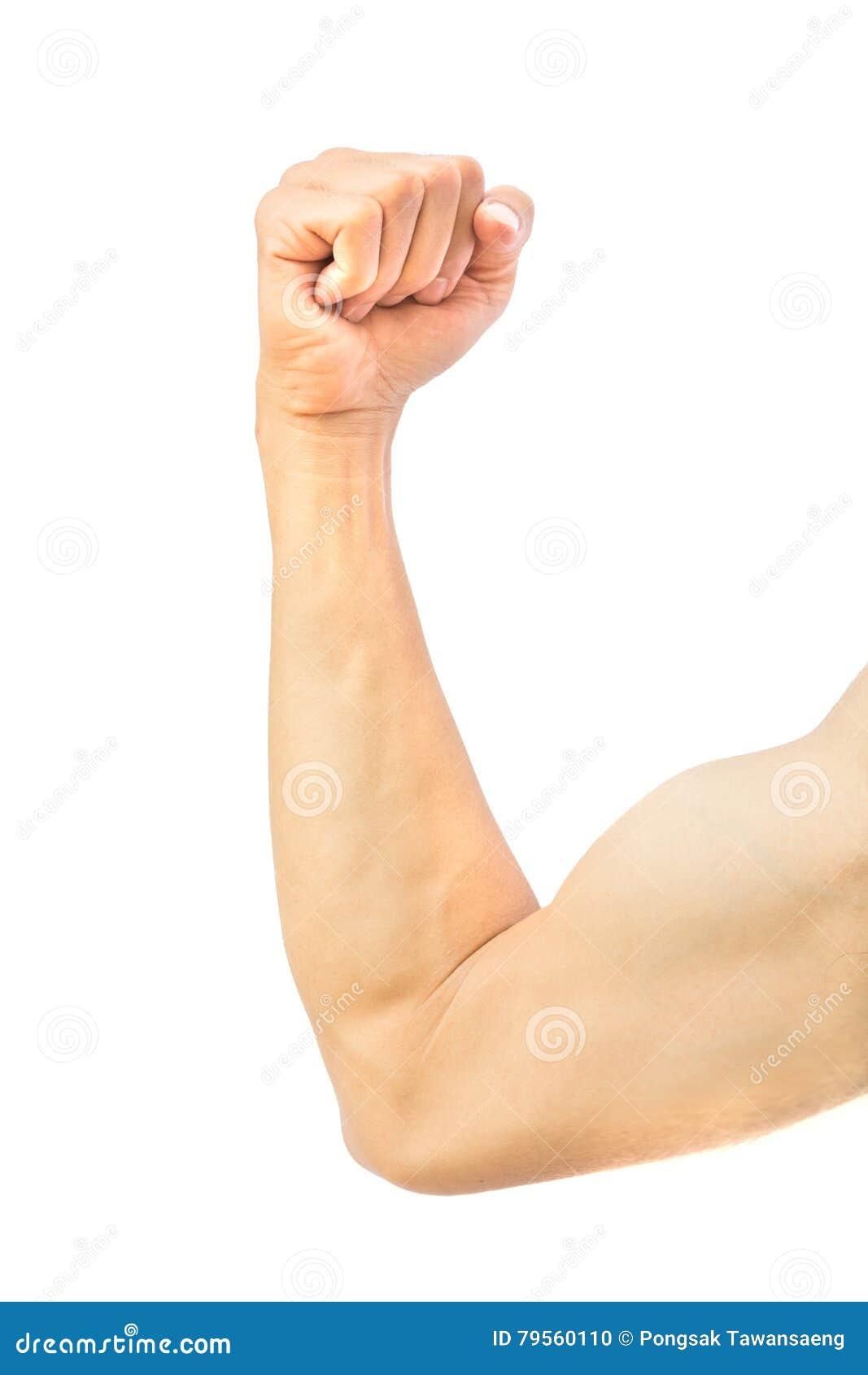 Ανθρώπινος βραχίονας ισχυρός με το μυ στο άσπρο υπόβαθρο, υγειονομική περίθαλψη ομο