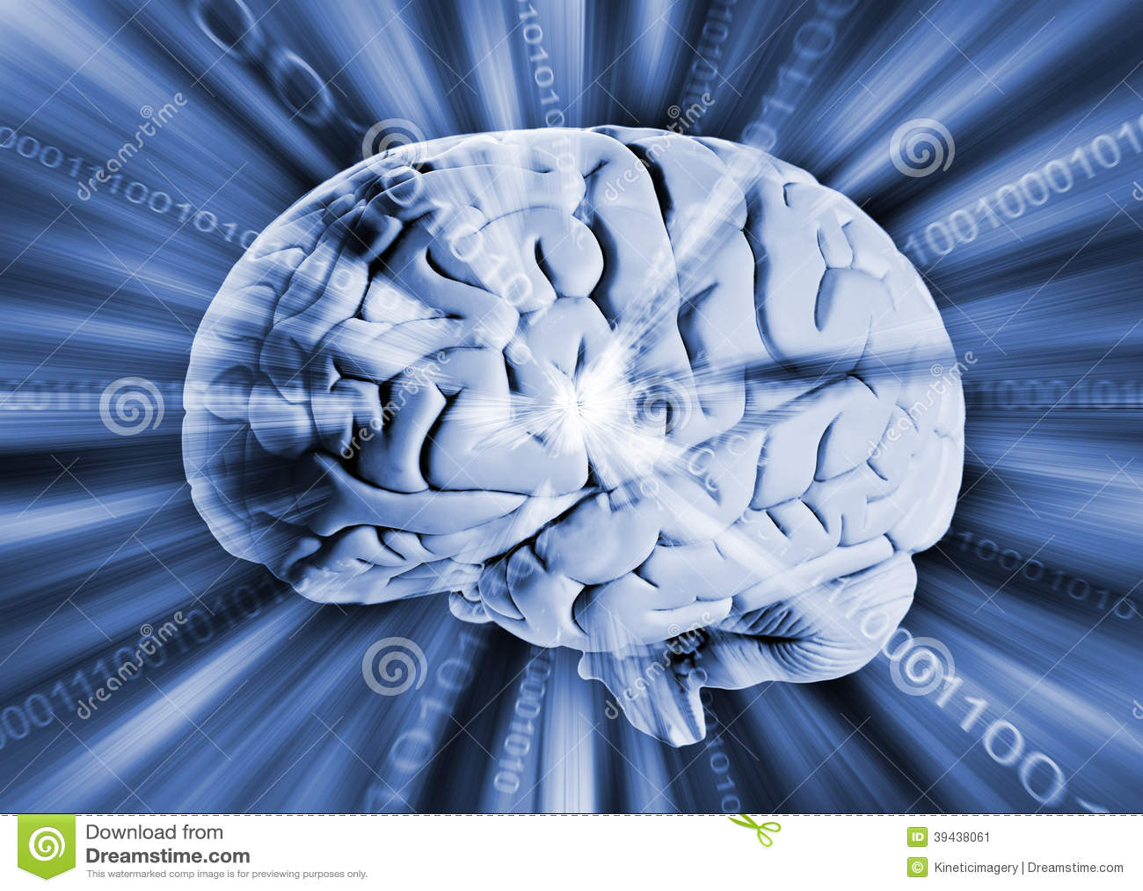 Ανθρώπινος εγκέφαλος με το δυαδικό κώδικα