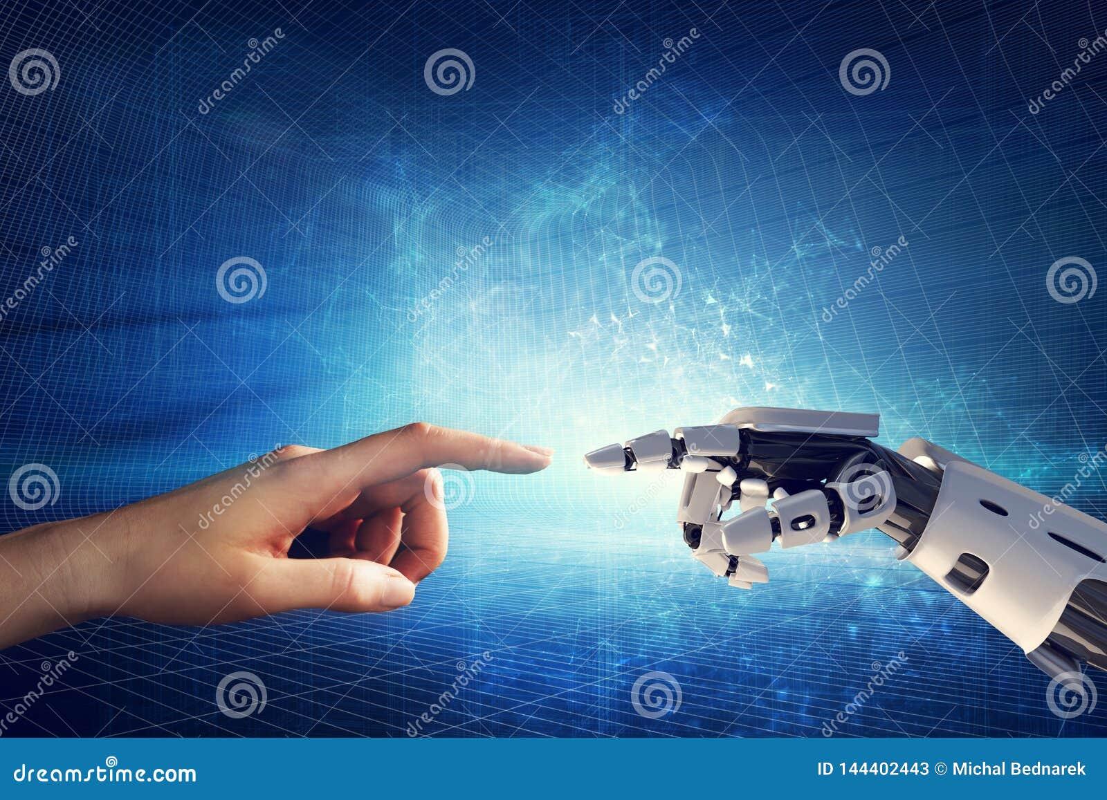 Ανθρώπινο και ρομποτικό χέρι σχετικά με τα δάχτυλα