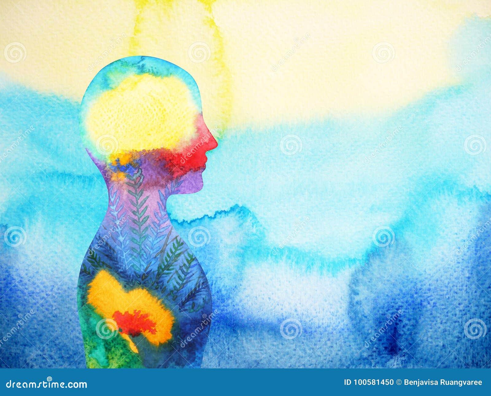 Ανθρώπινο κεφάλι, δύναμη chakra, αφηρημένη σκέψη έμπνευσης