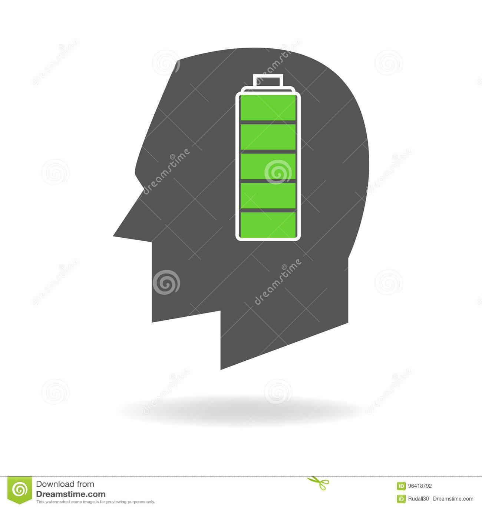 Ανθρώπινο κεφάλι με τον πλήρη δείκτη μπαταριών