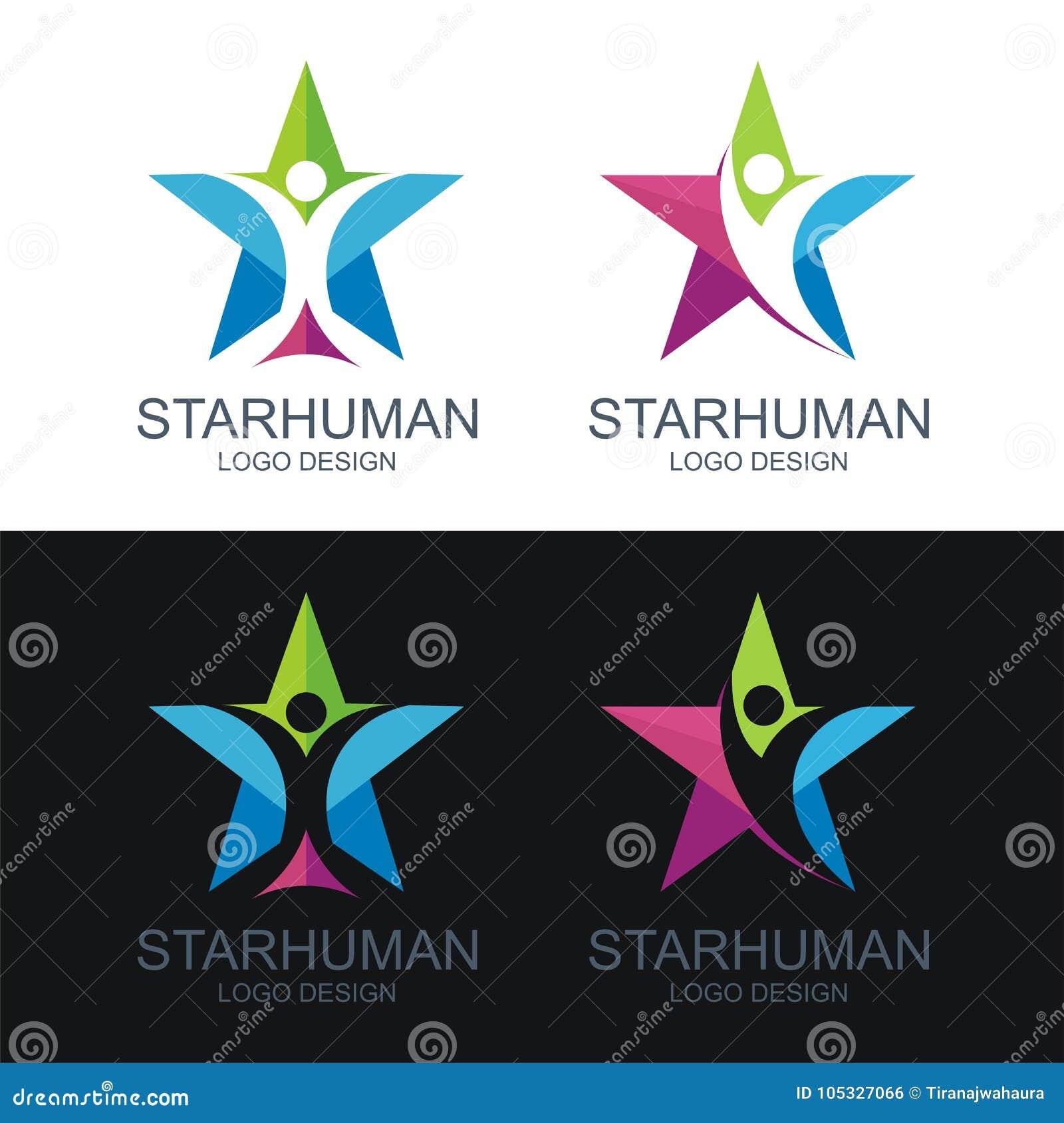 Ανθρώπινο λογότυπο, με το σχέδιο αστεριών