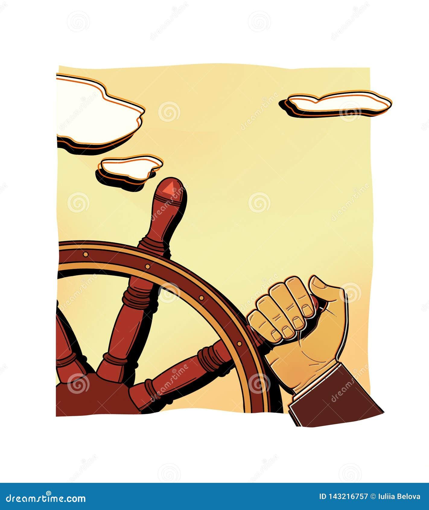Ανθρώπινο χέρι που γυρίζει μια παλαιά ξύλινη ρόδα Χειρωνακτικός έλεγχος Επενδύσεις, χρηματιστήριο, αμοιβαία κεφάλαια