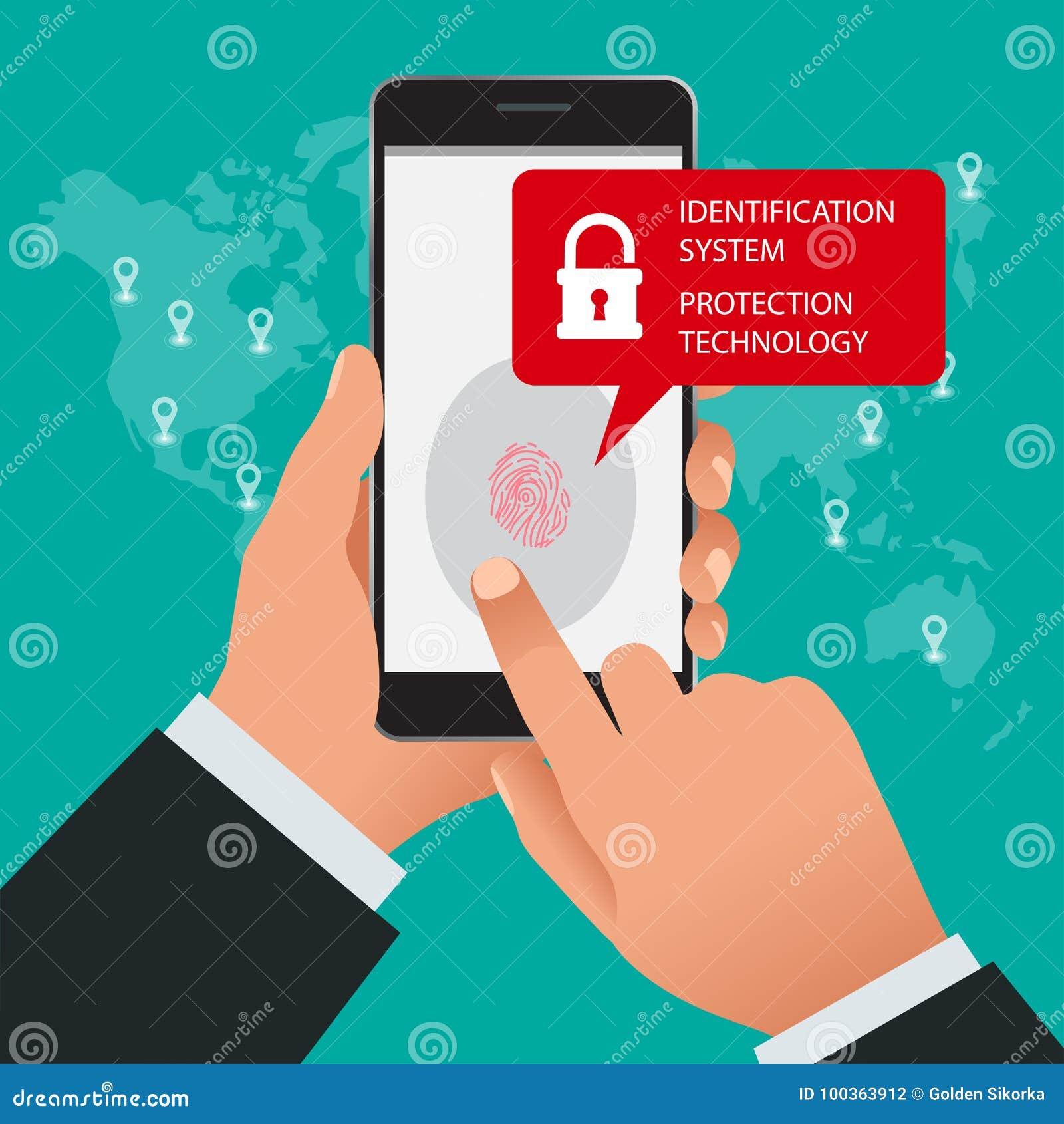 Ανιχνευτής δακτυλικών αποτυπωμάτων, σύστημα προσδιορισμού, έννοια τεχνολογίας προστασίας Διανυσματική απεικόνιση της κινητής τηλε